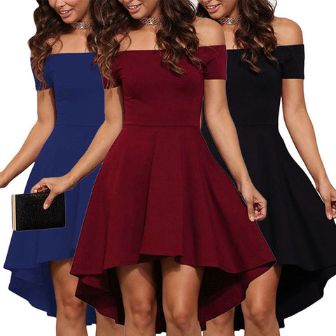 Strapless Short Sleeve Irregular Dress