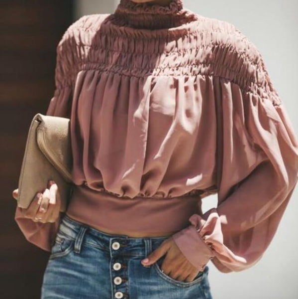 Fashion Long Sleeve Chiffon Shirt Crop Top