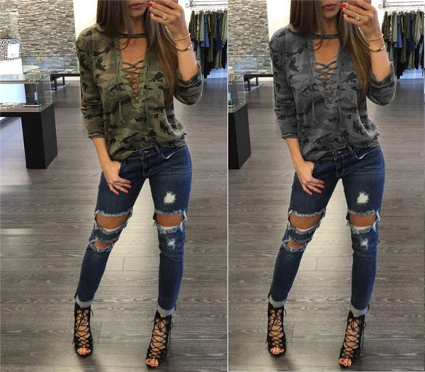 Women Sexy V-Neck Camouflage T-shirt Top