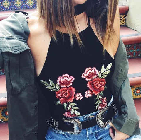 Round Neck Embroidery Hanging Neck Shirt