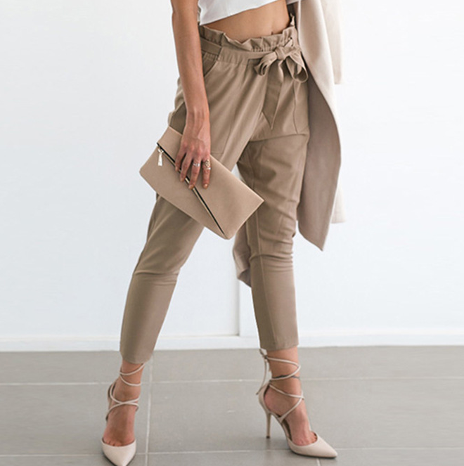 Slim High Waist Long Pants