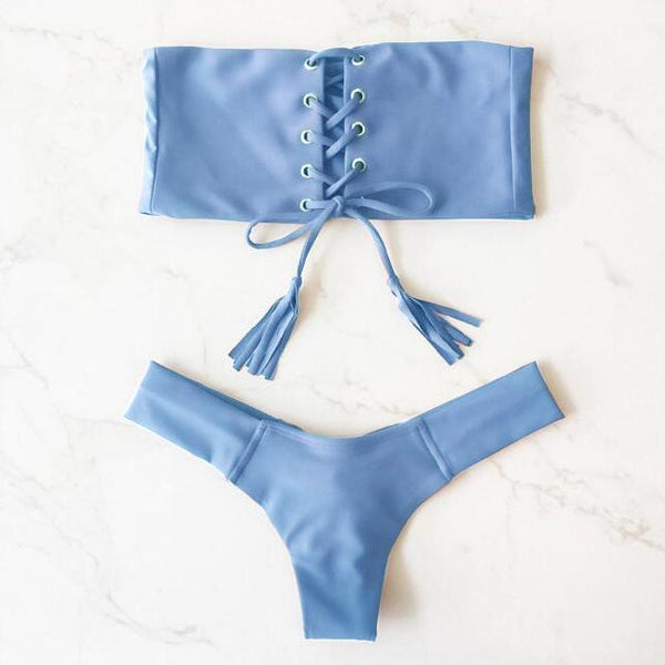 Sexy Solid Color Strapless Lace Up Swimsuit Bikini Set