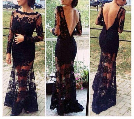 EMBROIDERED BLACK LACE DRESS