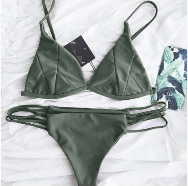 Sexy Solid Color Swimsuit Swimwear Bikini Set Green