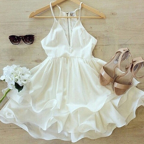 SUSPENDERS WHITE DRESS