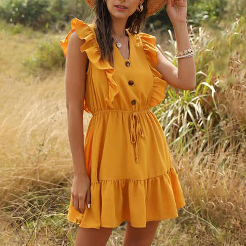 Fashion Yellow V-neck Sleeveless Dress