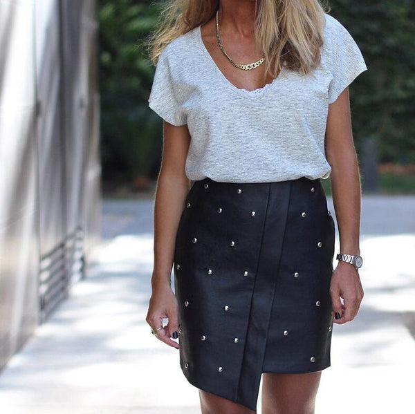Fashion Splice Irregular Skirt Black