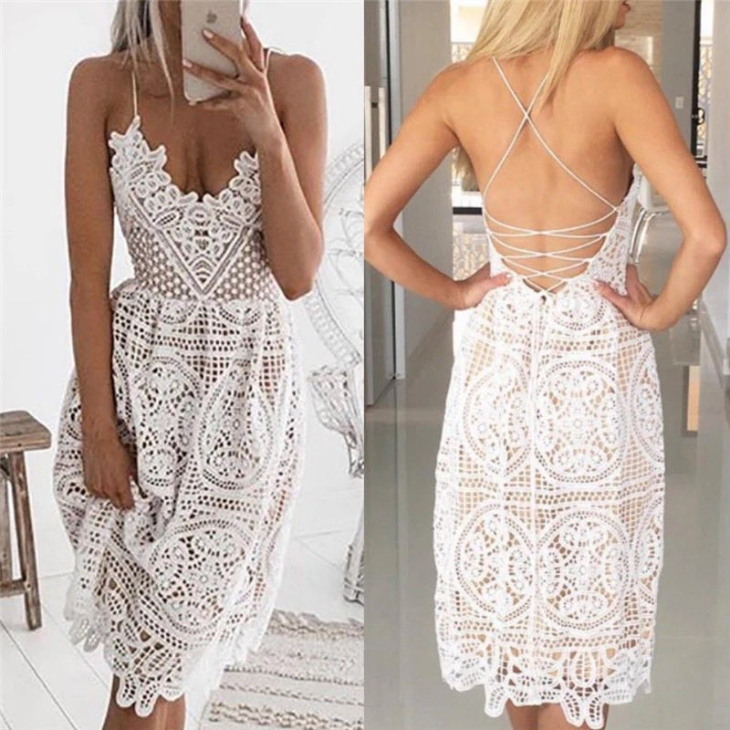 Sexy Sling Lace Backless Dress