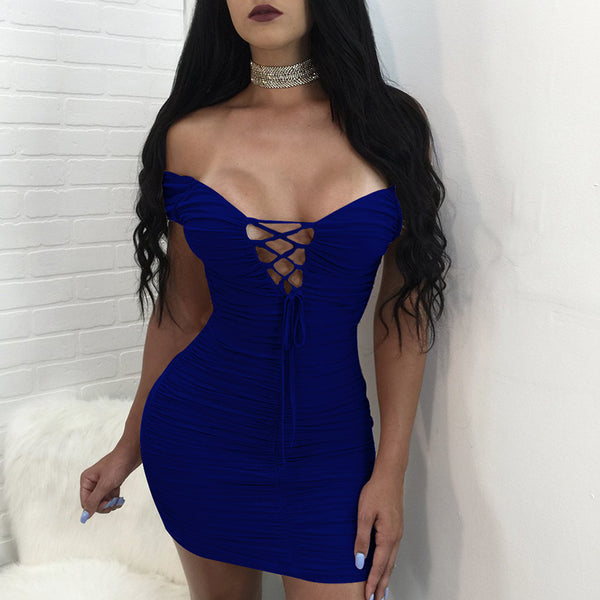 Sexy V-Neck Solid Color Short Sleeves Dress