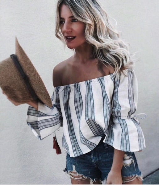 Sexy Strapless Stripe Shirt Top