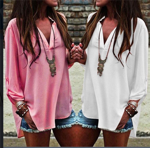 Fashion Chiffon Solid Color V-Neck Irregular T-Shirt Top