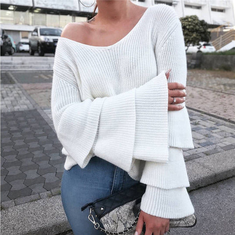 Fashion Knitted Long-Sleeved V-Neck Sweater
