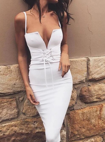 Fashion Sexy Deep V Sling Solid Color Dress
