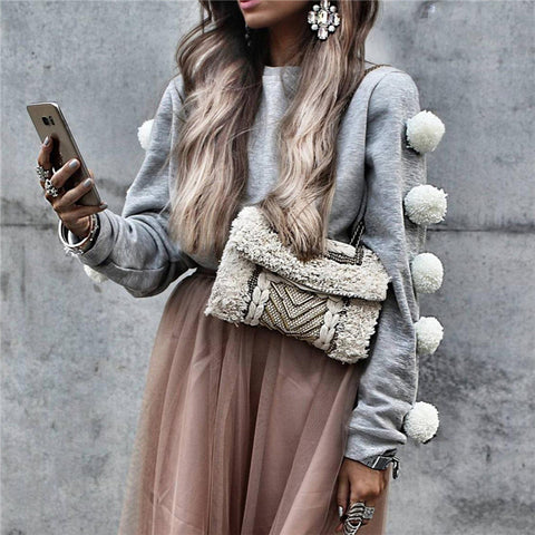 Fashion Round Neck Long Sleeves Sweater