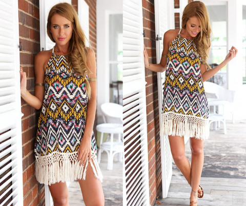 PRINTED SLEEVELESS BACKLESS DRESS
