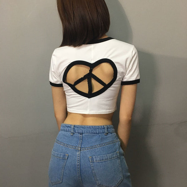 Sexy Backless Hollow Short Sleeve T-shirt  Top
