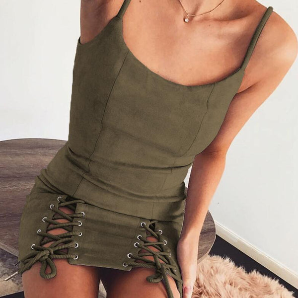 Sexy Sling Bandage Solid Color Dress