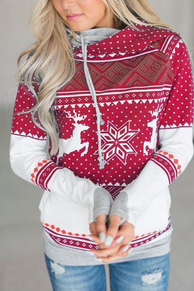 Fashion Hooded Long-Sleeved Print Zipper Top Sweater