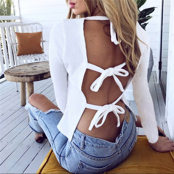 Sexy Backless Bandage Round Neck Long Sleeve T Shirt Top