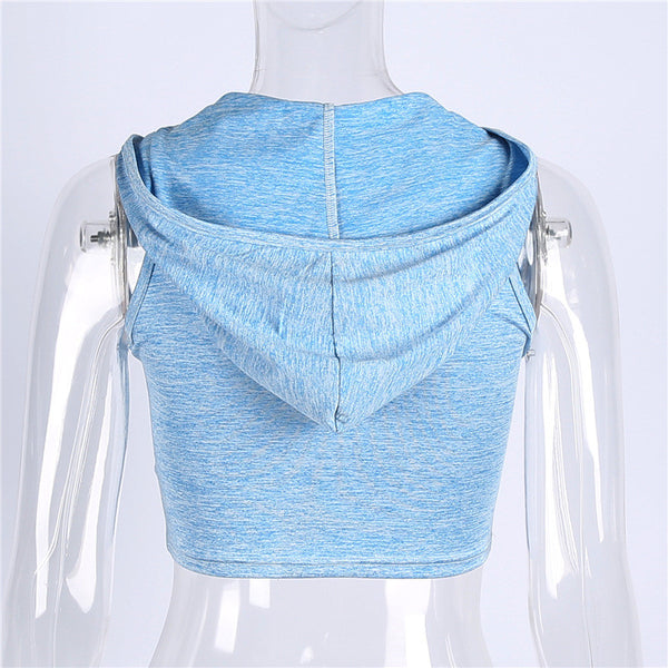 Fashion Solid Color Hooded Vest Top