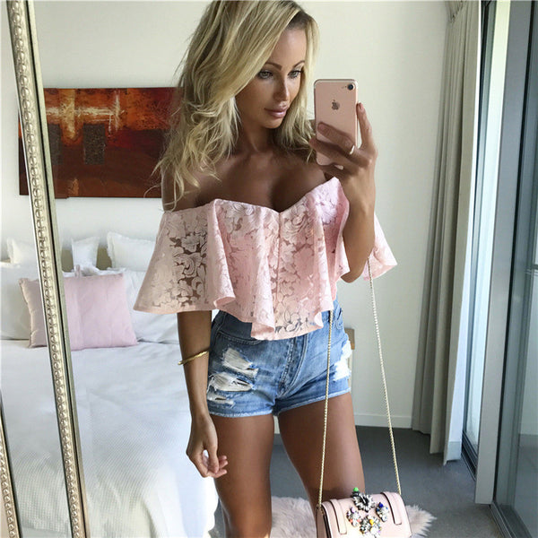 Sexy Strapless Lace Jumpsuit Pink