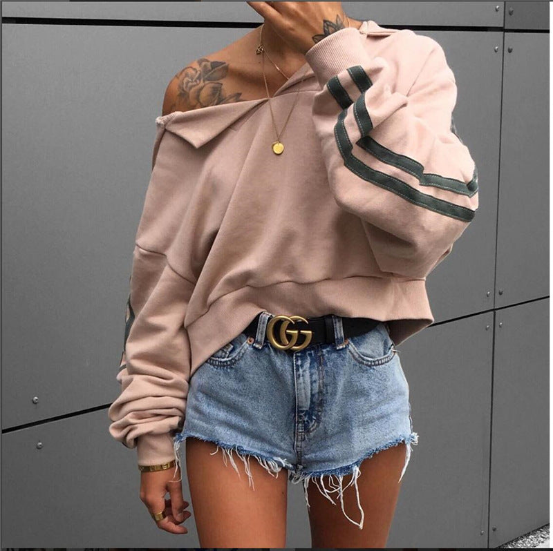 Women Loose Bat Sleeve Hooded Sweater