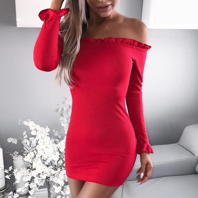 Sexy Solid Color Long Sleeve Knit Mini Dress