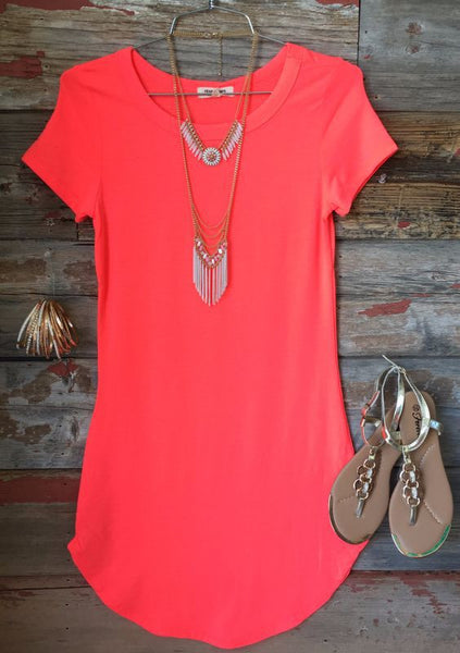 Fashion solid color short-sleeved dress