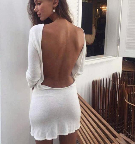 Sexy Long Sleeve Backless Mini White Dress