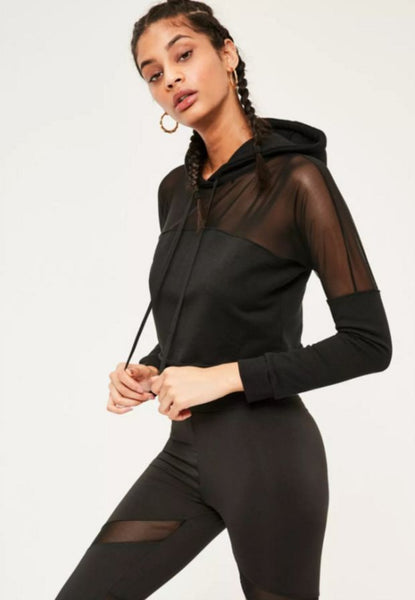 New Fashion Sexy Long Sleeve Gauze Hooded Corp Sweater