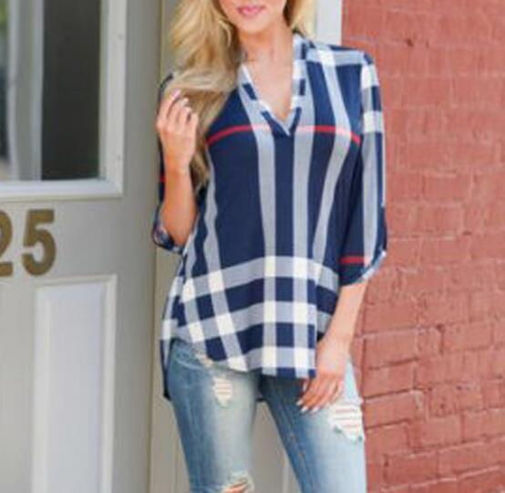 Fashion Plaid Print V-Neck Top T-Shirt