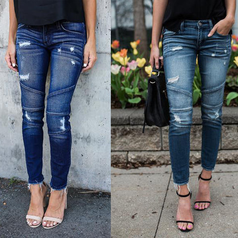 Womens Stretch Pencil Frayed Denim Pants