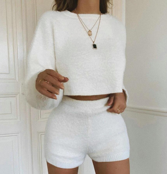 Fashion White Long Sleeve Two-piece Suit