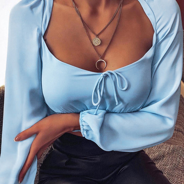 Fashion Solid color Long Sleeves T-Shirt Crop Top