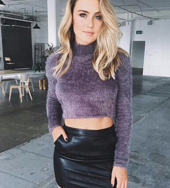 High Collar Solid Color Sexy Short Sweater Top