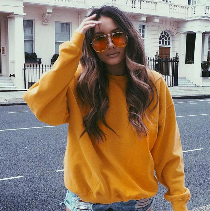 Fashion Round Neck Long Sleeve Yellow Sweater Top