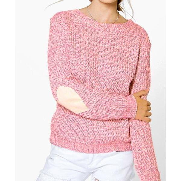Fashion Heart Patch Round Neck Knitted Sweater