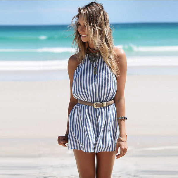 Sexy Backless Stripes Halter Jumpsuit Rompers