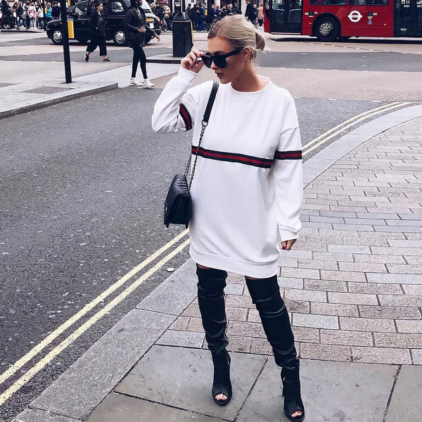 Fashion Women Loose Long-Sleeved Round Neck Tops Sweater