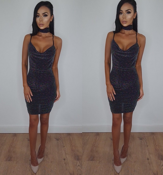 Sexy sleeveless package hip dress