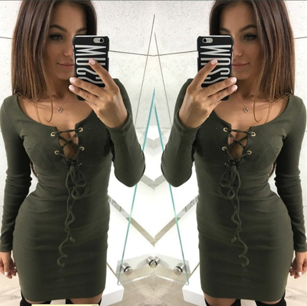 Fashion Solid Color Bandage Long-Sleeved Dress