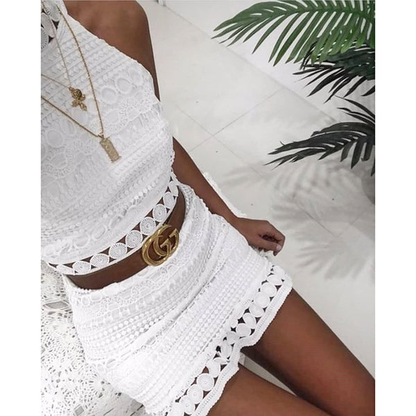 Sexy White Lace High Neck Sleeveless Dress