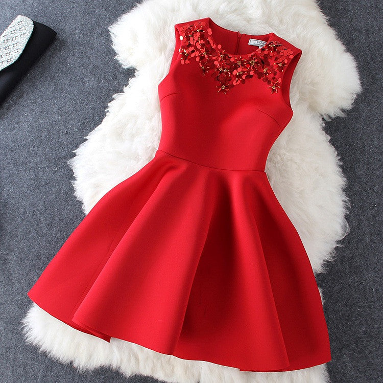 Beaded Dress In Red