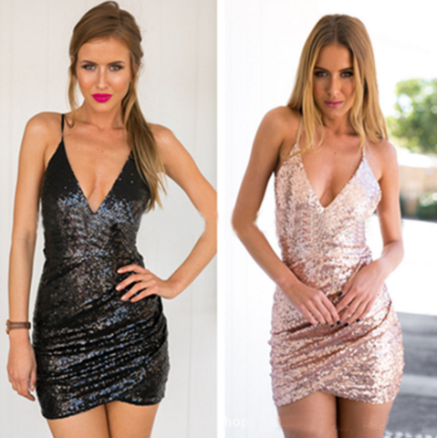 SEXY SEQUINED V-NECK PACKAGE HIP DRESS