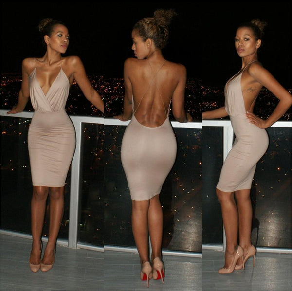 V-NECK BACKLESS PACKAGE HIP DRESS