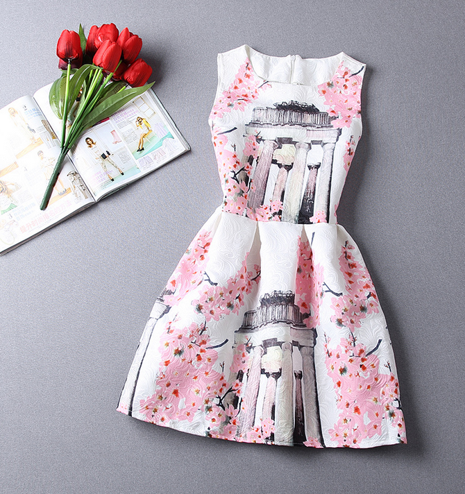 Slim Printed Sleeveless Dress