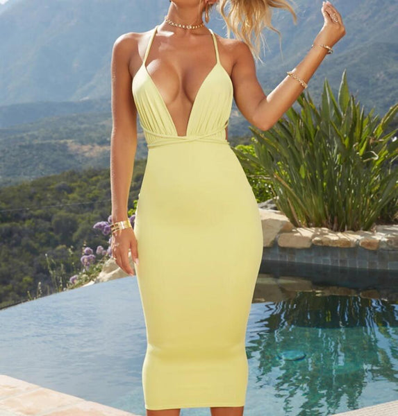 Sexy Deep V Neck Backless Dress