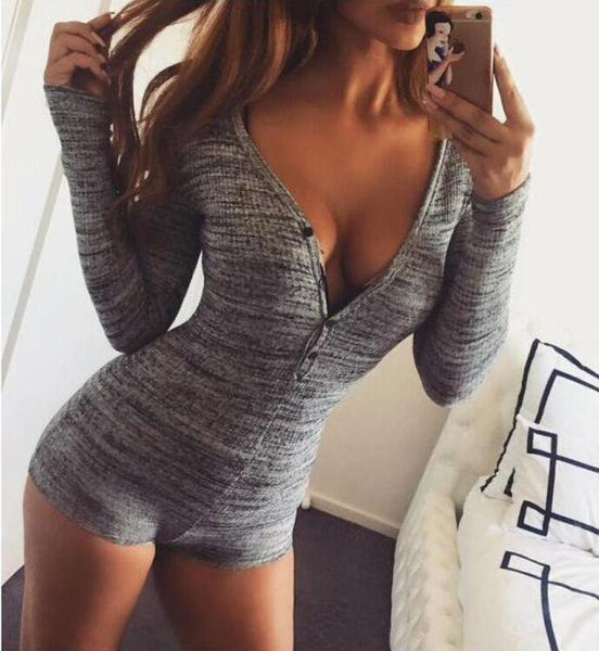Sexy V-neck Long Sleeve Rompers Jumpsuit