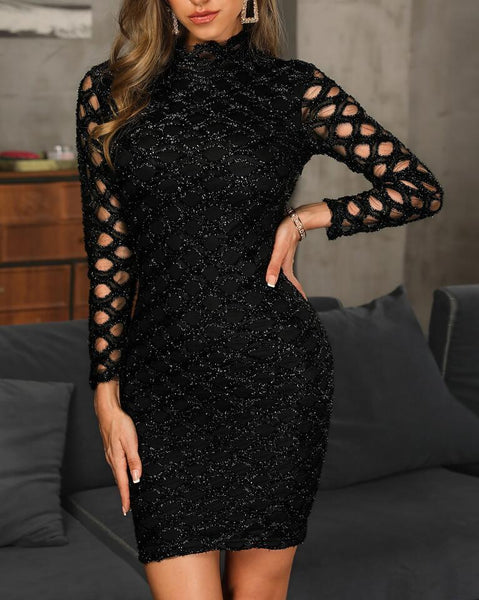 Fashion Sparkling Long Sleeve Openwork Dress