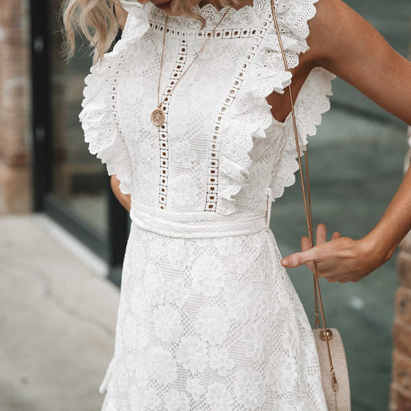 Fashion White Embroidered Lace Dress